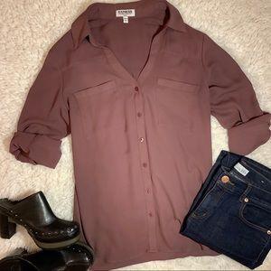 Express Purple Button Up Blouse